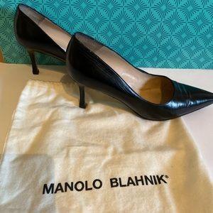Manila Blahnik leather kitten heels size 37